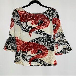 ANTHRO Porridge red/black/cream blouse, size XS